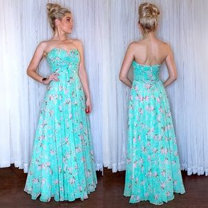 Floral Long Formal Prom Pageant Bridesmaid Dress